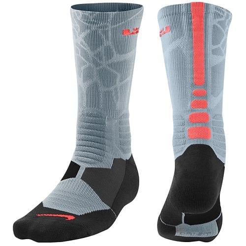 8744d66bdbaa Nike Lebron Hyper Elite Basketball Crew Socks (Dove Grey Hot Lava ...