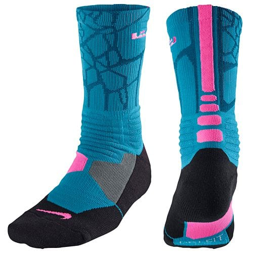 3f4da2fb34eb Nike Lebron Hyper Elite Basketball Crew Socks(Light Blue Laquer Pink ...