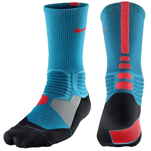 Nike Hyperelite Basketball Crew Socks  Mens Basketball Accessories Light Blue Lacquer/Bright Crimson